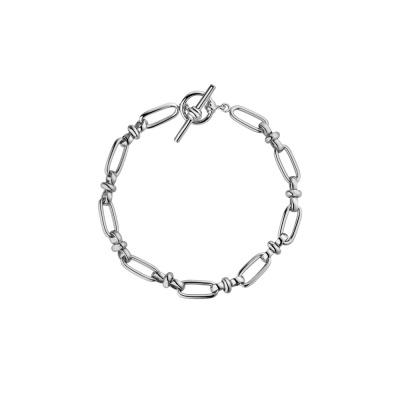 Paul Valentine Zilverkleurige New Link T-Bar Link Armband PVW2011-S000023