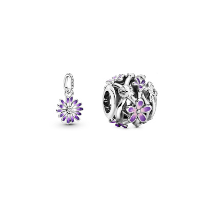 Pandora Garden Purple Daisy Dangle en Bedel Set