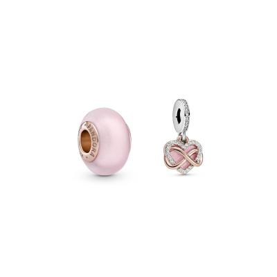 Pandora Infinity Heart Bedel en Murano Glass Bedel Set