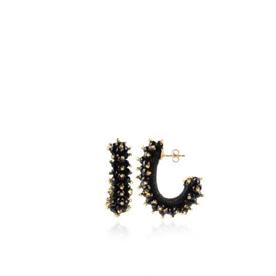 LOTT. gioielli 925 Sterling Zilveren Zwarte Oorbellen CEGB094-G09032