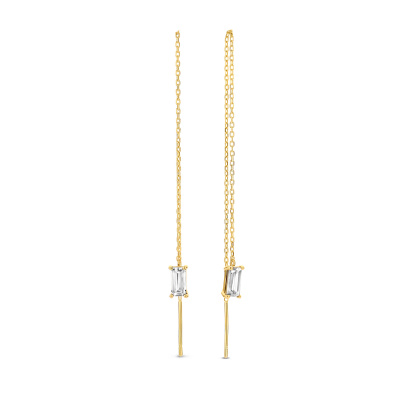 Isabel Bernard 14 karaat gouden Baguette Fey oorhangers IB360071
