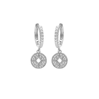 Karma 925 Sterling Zilveren Hinge Hoops Disc Diamond Oorknoppen M2674HW