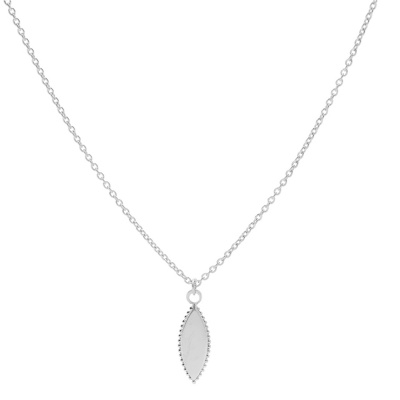 Karma 925 Sterling Zilveren Dots Pointy Oval Ketting T239 (Lengte: 38.00-45.00 cm)