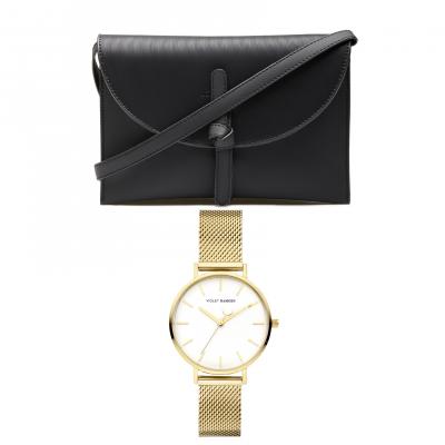 Violet's Gift Goudkleurig Horloge Met Zwarte Crossbody Giftset VH90027